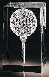 optic laser inscribed art glass golf ball